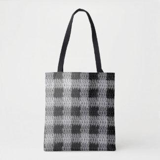 Black Gray Shades Business Plaid Texture Crochet Tote Bag