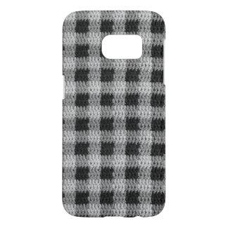 Black Gray Shades Gingham Plaid Pattern Crochet Samsung Galaxy S7 Case
