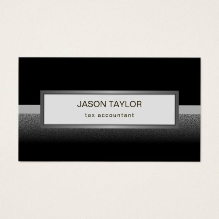 Black Silver White and Gray Tax Accountant Business Cards Design