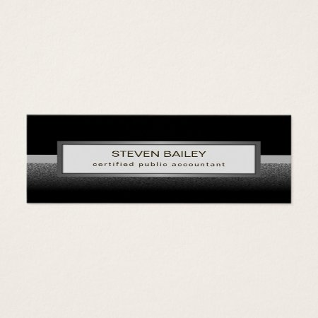 Elegant Black Gray Silver and White Small Thin  Skinny Mini Professional Accountant Business Cards Template