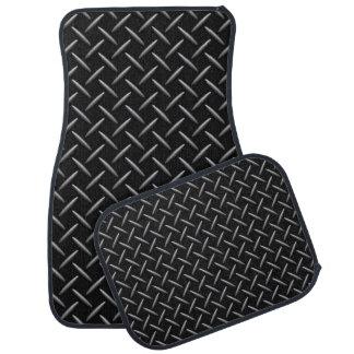 Black/Gray Simulated Diamond Plate Pattern Floor Mat