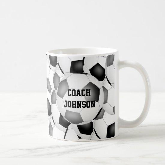 black gray soccer school team colors coach gift coffee mug