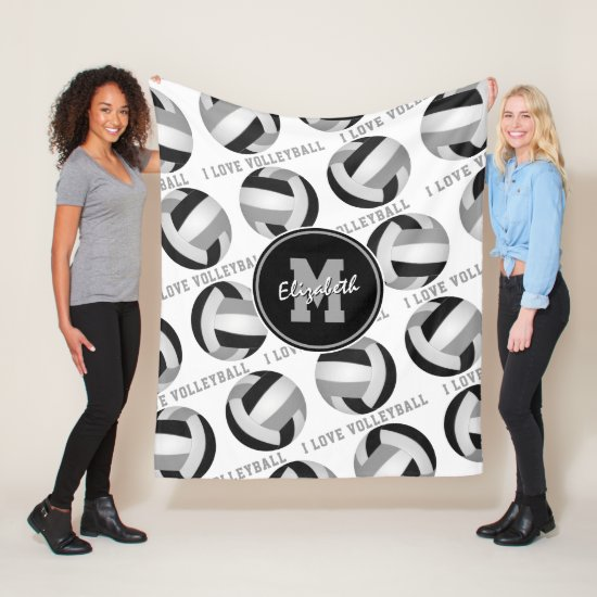 black gray sports room I love volleyball pattern Fleece Blanket