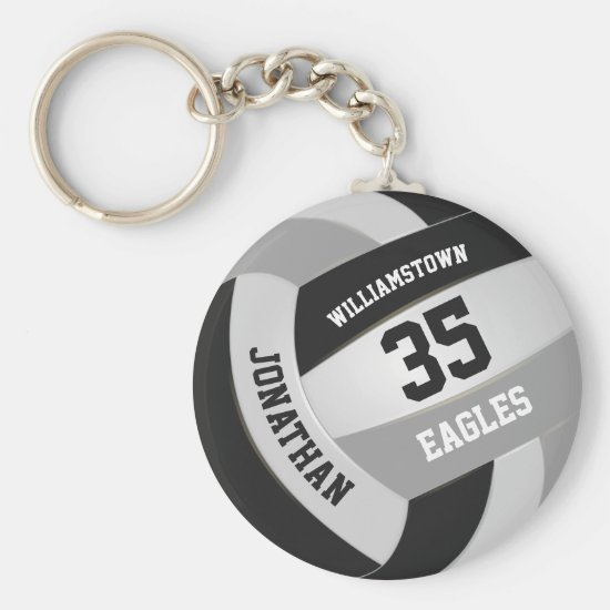 black gray sports team boys girls volleyball keychain