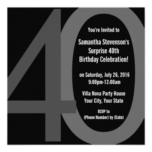 Black/Gray Square Big 40 Birthday Party Invitation