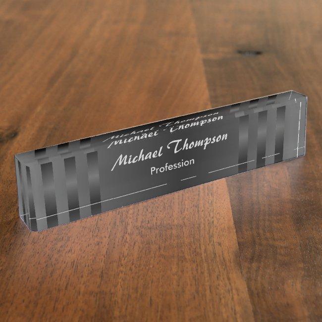 Black Gray Stripes Professional Desk Nameplate