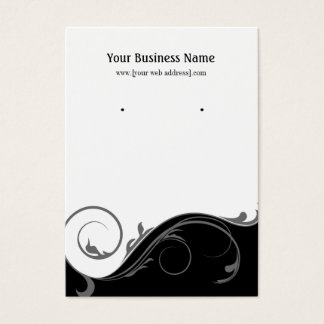 Black Gray Swirl Custom Earring Display Card