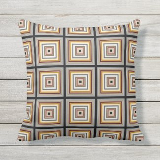 "Black, Gray, Taupe Geometric Print Pillow 16""x16"""