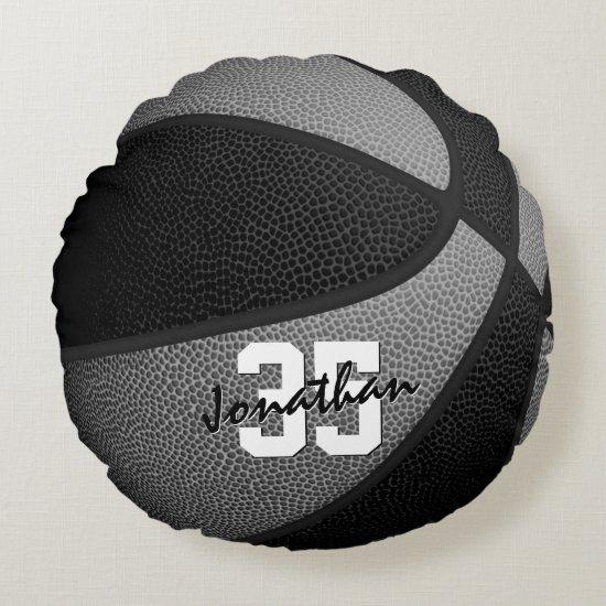 black gray team colors boys girls basketball decor round pillow