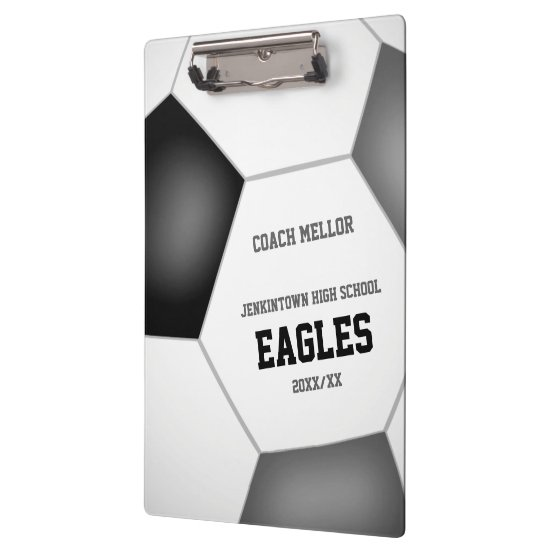 black gray team colors custom soccer coach clipboard