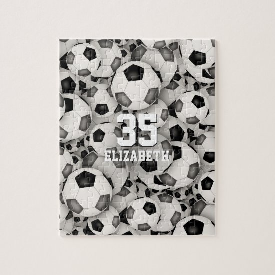black gray team colors girls boys soccer jigsaw puzzle
