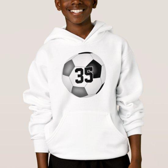 black gray team colors jersey number soccer hoodie