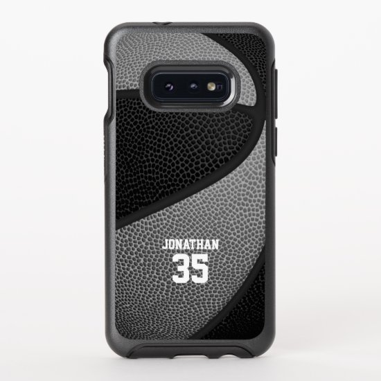 black gray team colors personalized basketball OtterBox symmetry samsung galaxy s10e case