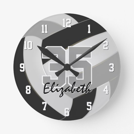 black gray team colors players name volleyball round clock
