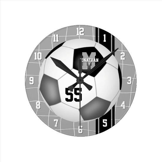 black gray team colors varsity stripes soccer round clock