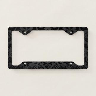 Black & Gray Vintage Damask License Plate Frame