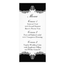 black gray wedding menu