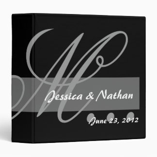 Black & Gray Wedding Monogram Planner Photo Binder