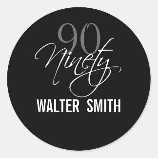 Black Gray White 90th Birthday Party Classic Round Sticker