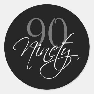 Black Gray White 90th Birthday Party Round Sticker