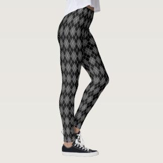 Black Gray White Argyle Diamond Pattern Leggings