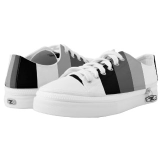 Black Gray White Bold Stripes Printed Shoes