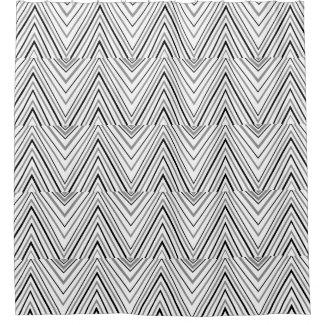 Black Gray White Chevron Pattern Shower Curtain