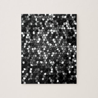 Black, gray & white color stained glass pattern jigsaw puzzle