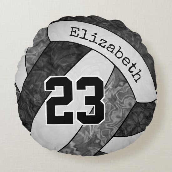 black gray white girls' volleyball team colors round pillow