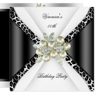 Black Gray White Leopard Pearl Birthday Party Card