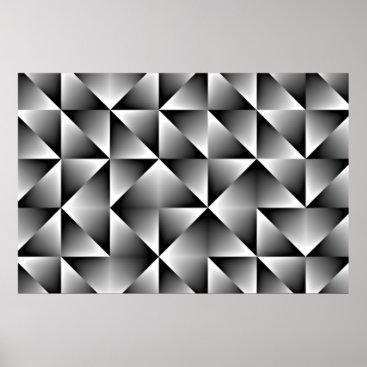 CozyLivin Black Gray White Retro Chic Geometric Squares Poster