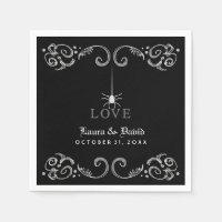 Black Gray & White Spider LOVE Halloween Wedding Paper Napkin