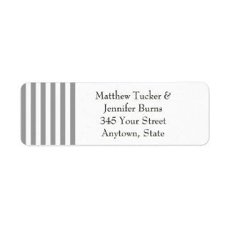 Black / Gray & White Striped Return Address Labels