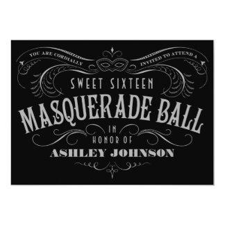 Black, Gray & White Sweet 16 Masquerade Invitation