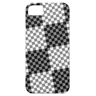 Black Gray White Tile Checkered Chessboard Pattern iPhone SE/5/5s Case