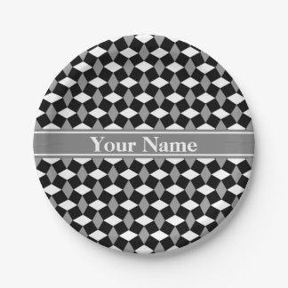 Black/Gray/White Wavy Pattern Paper Plate 7 Inch Paper Plate
