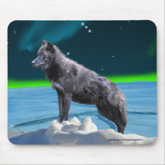 Black Gray Wolf & Northern Lights Fantasy Mousepad