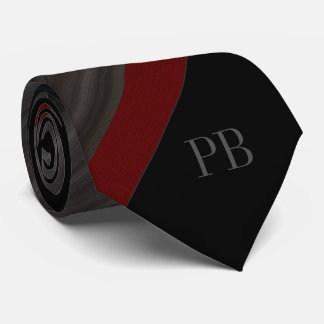 Black Grayed stiped Monogram Tie