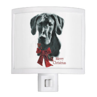 Black Great Dane Christmas Night Light