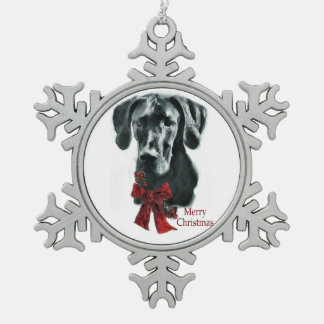 Black Great Dane Christmas Snowflake Pewter Christmas Ornament