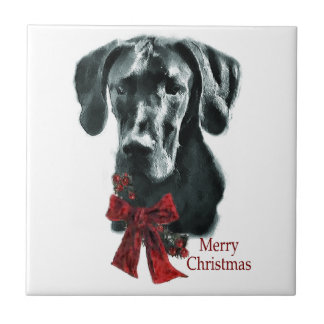 Black Great Dane Christmas Tile