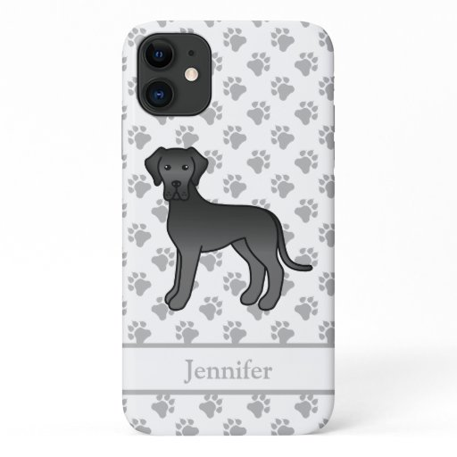 Black Great Dane Cute Cartoon Dog & Name iPhone 11 Case