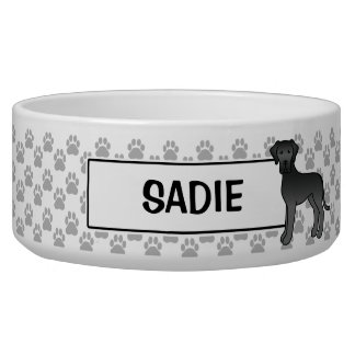 Black Great Dane Dog Design With Pet's Name Bowl