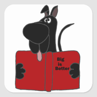 Black Great Dane Reading Book Square Sticker