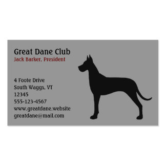 Black Great Dane Silhouette Business Cards