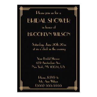 Black Great Gatsby Art Deco Bridal Shower Invites