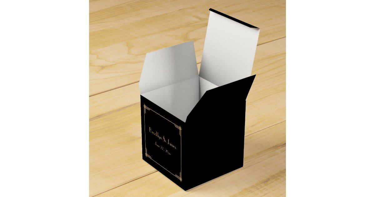 Black Treat Favor Boxes : Black great gatsby art deco wedding favor boxes zazzle