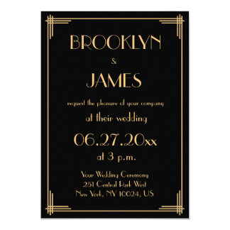 Superb Black Great Gatsby Art Deco Wedding Invitations