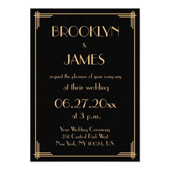 black great gatsby art deco wedding invitations zazzle com