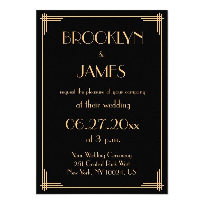 Black Great Gatsby Art Deco Wedding Invitations Zazzle